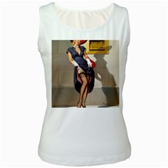 Retro Pin-up Girl Womens  Tank Top (white) by PinUpGallery