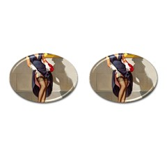 Retro Pin Up Girl Cufflinks (oval) by PinUpGallery