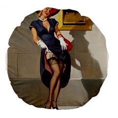 Retro Pin Up Girl 18  Premium Round Cushion  by PinUpGallery