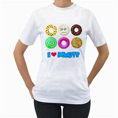 I Heart Donuts Womens  T Shirt (white) by Contest1632326