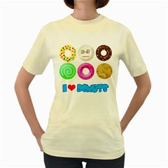 I Heart Donuts  Womens  T Shirt (yellow) by Contest1632326