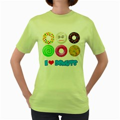 I Heart Donuts Womens  T Shirt (green) by Contest1632326