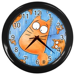 Pookiecat Clock Wall Clock (black) by PookieCatWorld