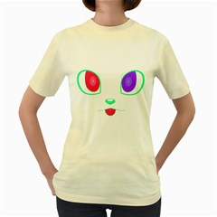 Cat Eyes  Womens  T Shirt (yellow) by Contest1422604