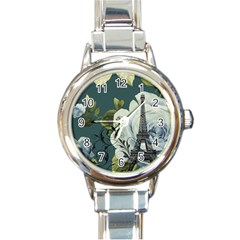 Blue Roses Vintage Paris Eiffel Tower Floral Fashion Decor Round Italian Charm Watch by chicelegantboutique