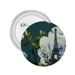 Blue Roses Vintage Paris Eiffel Tower Floral Fashion Decor 2 25  Button