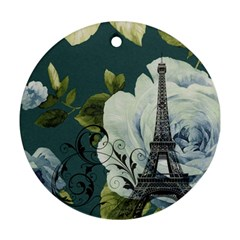 Blue Roses Vintage Paris Eiffel Tower Floral Fashion Decor Round Ornament by chicelegantboutique