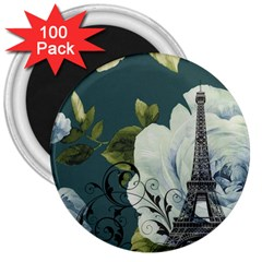 Blue Roses Vintage Paris Eiffel Tower Floral Fashion Decor 3  Button Magnet (100 Pack) by chicelegantboutique