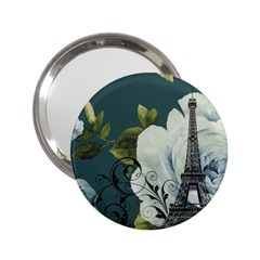 Blue Roses Vintage Paris Eiffel Tower Floral Fashion Decor Handbag Mirror (2 25 ) by chicelegantboutique