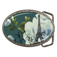 Blue Roses Vintage Paris Eiffel Tower Floral Fashion Decor Belt Buckle (oval) by chicelegantboutique