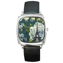 Blue Roses Vintage Paris Eiffel Tower Floral Fashion Decor Square Leather Watch
