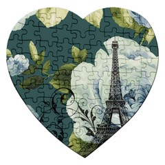 Blue Roses Vintage Paris Eiffel Tower Floral Fashion Decor Jigsaw Puzzle (heart)