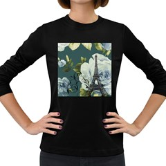 Blue Roses Vintage Paris Eiffel Tower Floral Fashion Decor Womens' Long Sleeve T Shirt (dark Colored) by chicelegantboutique