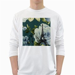 Blue Roses Vintage Paris Eiffel Tower Floral Fashion Decor Mens' Long Sleeve T Shirt (white)