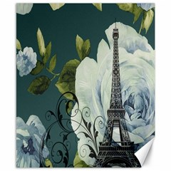 Blue Roses Vintage Paris Eiffel Tower Floral Fashion Decor Canvas 8  X 10  (unframed) by chicelegantboutique