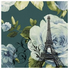 Blue Roses Vintage Paris Eiffel Tower Floral Fashion Decor Canvas 20  X 20  (unframed) by chicelegantboutique