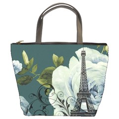 Blue Roses Vintage Paris Eiffel Tower Floral Fashion Decor Bucket Bag