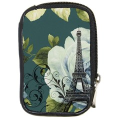 Blue Roses Vintage Paris Eiffel Tower Floral Fashion Decor Compact Camera Leather Case