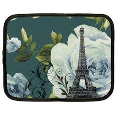 Blue Roses Vintage Paris Eiffel Tower Floral Fashion Decor Netbook Case (xxl)