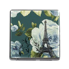 Blue Roses Vintage Paris Eiffel Tower Floral Fashion Decor Memory Card Reader With Storage (square) by chicelegantboutique