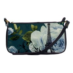 Blue Roses Vintage Paris Eiffel Tower Floral Fashion Decor Evening Bag