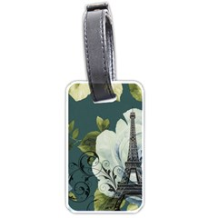 Blue Roses Vintage Paris Eiffel Tower Floral Fashion Decor Luggage Tag (two Sides) by chicelegantboutique
