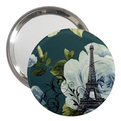 Blue Roses Vintage Paris Eiffel Tower Floral Fashion Decor 3  Handbag Mirror by chicelegantboutique