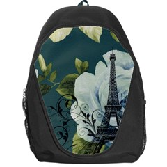 Blue Roses Vintage Paris Eiffel Tower Floral Fashion Decor Backpack Bag by chicelegantboutique