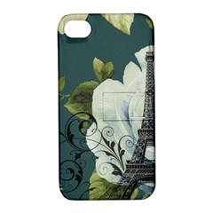 Blue Roses Vintage Paris Eiffel Tower Floral Fashion Decor Apple Iphone 4/4s Hardshell Case With Stand by chicelegantboutique