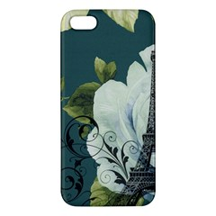 Blue Roses Vintage Paris Eiffel Tower Floral Fashion Decor Iphone 5 Premium Hardshell Case by chicelegantboutique