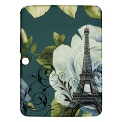 Blue Roses Vintage Paris Eiffel Tower Floral Fashion Decor Samsung Galaxy Tab 3 (10 1 ) P5200 Hardshell Case  by chicelegantboutique
