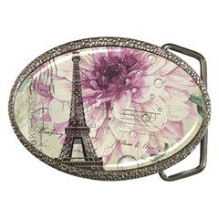 Purple Floral Vintage Paris Eiffel Tower Art Belt Buckle (oval) by chicelegantboutique