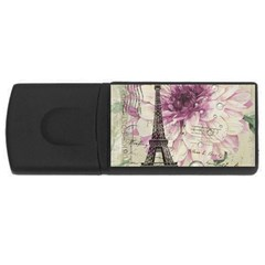 Purple Floral Vintage Paris Eiffel Tower Art 4gb Usb Flash Drive (rectangle) by chicelegantboutique