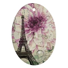 Purple Floral Vintage Paris Eiffel Tower Art Oval Ornament (two Sides) by chicelegantboutique