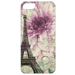 Purple Floral Vintage Paris Eiffel Tower Art Apple Iphone 5 Classic Hardshell Case by chicelegantboutique