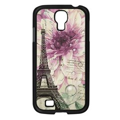 Purple Floral Vintage Paris Eiffel Tower Art Samsung Galaxy S4 I9500/ I9505 (black) by chicelegantboutique