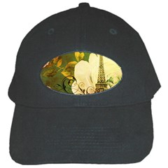 Floral Eiffel Tower Vintage French Paris Black Baseball Cap