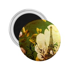Floral Eiffel Tower Vintage French Paris 2 25  Button Magnet
