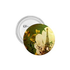 Floral Eiffel Tower Vintage French Paris 1 75  Button by chicelegantboutique
