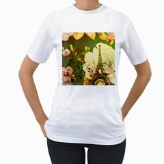 Floral Eiffel Tower Vintage French Paris Womens  T-shirt (white)