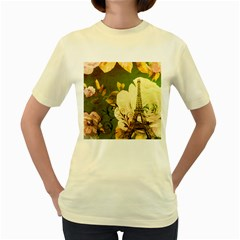 Floral Eiffel Tower Vintage French Paris  Womens  T Shirt (yellow)