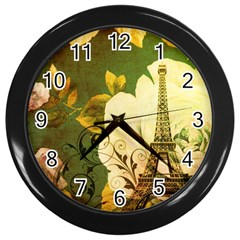 Floral Eiffel Tower Vintage French Paris Wall Clock (black)