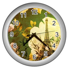Floral Eiffel Tower Vintage French Paris Wall Clock (silver)