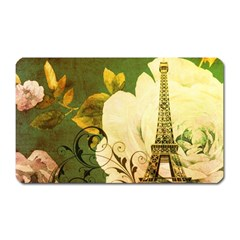 Floral Eiffel Tower Vintage French Paris Magnet (rectangular) by chicelegantboutique
