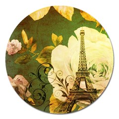 Floral Eiffel Tower Vintage French Paris Magnet 5  (round)