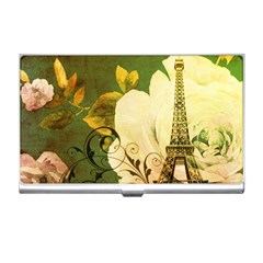 Floral Eiffel Tower Vintage French Paris Business Card Holder