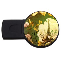 Floral Eiffel Tower Vintage French Paris 4gb Usb Flash Drive (round) by chicelegantboutique