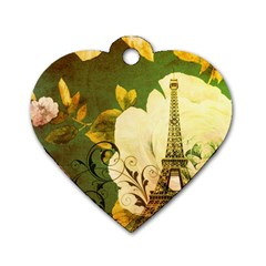 Floral Eiffel Tower Vintage French Paris Dog Tag Heart (two Sided) by chicelegantboutique