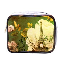 Floral Eiffel Tower Vintage French Paris Mini Travel Toiletry Bag (one Side)