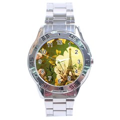 Floral Eiffel Tower Vintage French Paris Stainless Steel Watch (men s) by chicelegantboutique